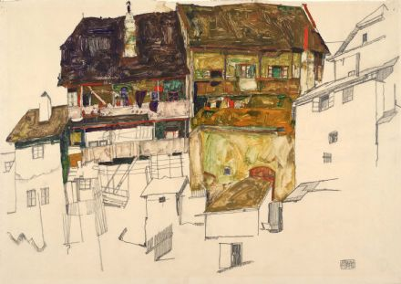 Schiele, Egon: Old Houses in Krumau, 1914. Fine Art Print/Poster. Sizes: A4/A3/A2/A1 (003700)